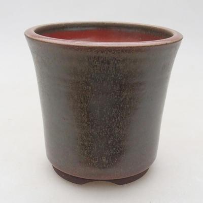 Keramische Bonsai-Schale 10 x 10 x 10 cm, Farbe braun-grün - 1