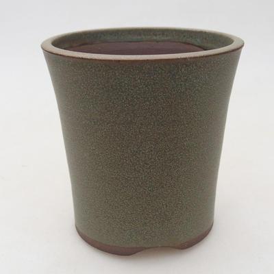 Keramische Bonsai-Schale 9,5 x 9,5 x 10 cm, Farbe braun-grün - 1