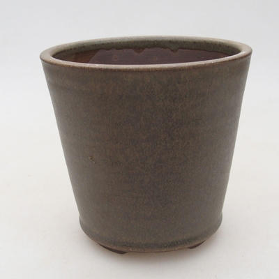 Keramische Bonsai-Schale 10,5 x 10,5 x 10 cm, Farbe braun-grün - 1