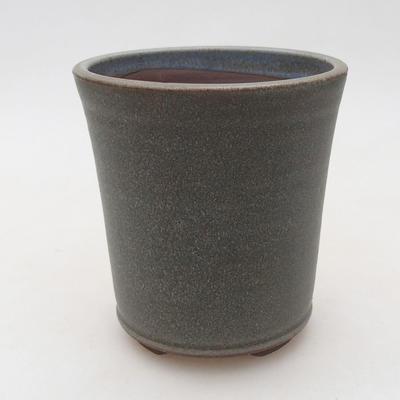 Keramische Bonsai-Schale 10 x 10 x 11 cm, Farbe grau - 1