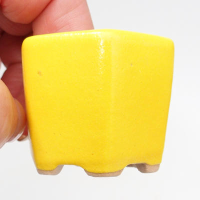 Mini Bonsai Schüssel 4 x 4 x 3,5 cm, gelbe Farbe - 1