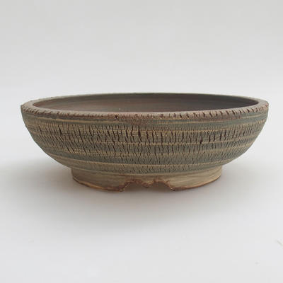 Keramik Bonsaischale 18,5 x 18,5 x 6 cm, Farbe grau - 1