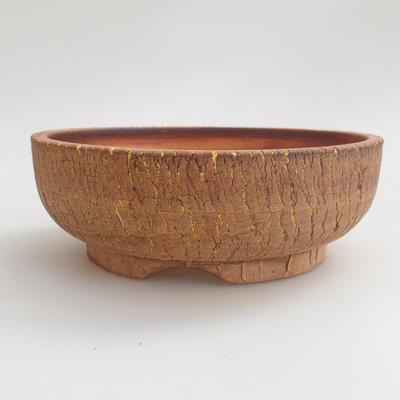 Keramik Bonsai Schüssel 16 x 16 x 5,5 cm, braun-gelbe Farbe - 1