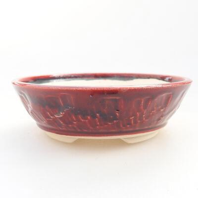 Keramik Bonsai Schüssel 12 x 12 x 5 cm, burgunder Farbe - 1