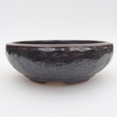 Keramik Bonsai Schüssel - 15,5 x 15,5 x 5 cm, blau-schwarze Farbe - 1