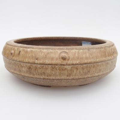 Keramik Bonsai Schüssel - 17 x 17 x 5,5 cm, braun-beige Farbe - 1