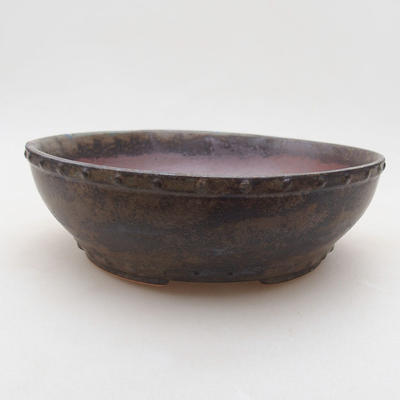 Keramische Bonsai-Schale 17 x 17 x 4,5 cm, graue Farbe - 1