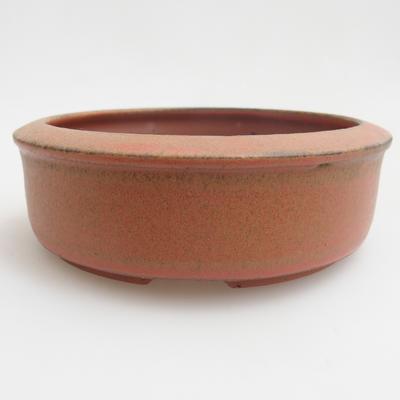 Keramik Bonsaischale 12 x 12 x 4 cm, Farbe rot - 1