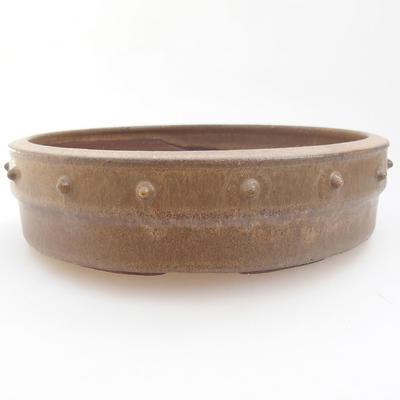 Keramische Bonsai-Schale - 19 x 19 x 5 cm, Farbe braun - 1