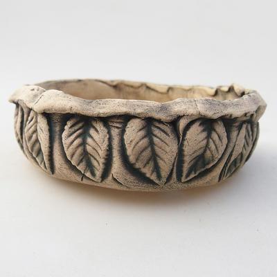 Keramik Bonsai Schüssel 10 x 10 x 3 cm, graue Farbe - 2. Qualität - 1