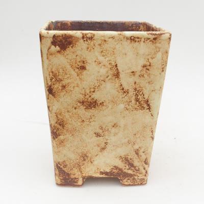 Bonsaischale aus Keramik 2. Wahl - 15 x 15 x 19 cm, braun-gelbe Farbe - 1