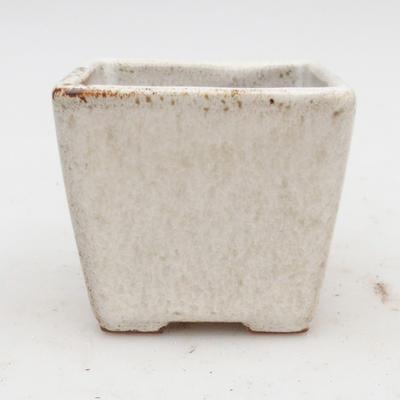 Bonsaischale aus Keramik 2. Wahl - 7 x 7 x 6,5 cm, Farbe beige - 1