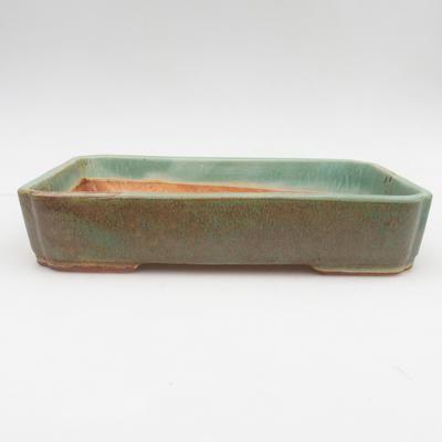 Keramik Bonsaischale 2. Wahl - 23,5 x 17 x 4,5 cm, braun-grüne Farbe - 1