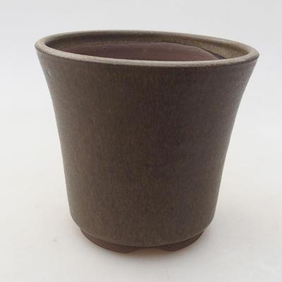 Keramik Bonsai Schüssel 10 x 10 x 9 cm, Farbe braun - 1