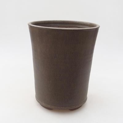 Keramische Bonsai-Schale 13 x 13 x 16,5 cm, braune Farbe - 1