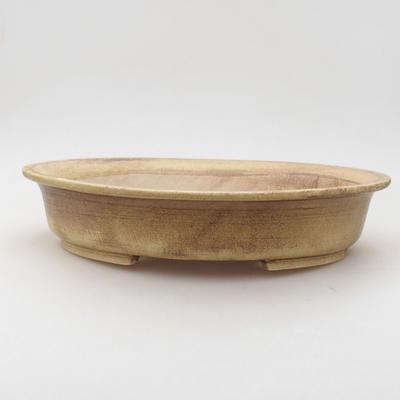Keramische Bonsai-Schale 28 x 25 x 6 cm, Farbe braun-gelb - 1