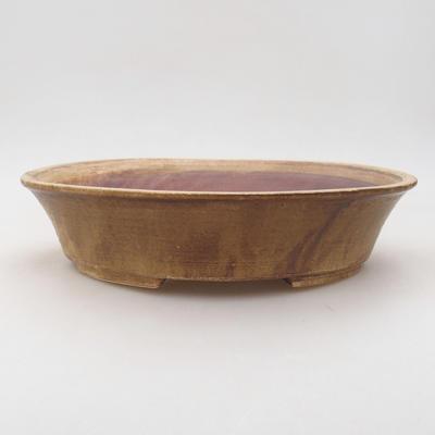 Keramische Bonsai-Schale 26,5 x 21,5 x 6 cm, braune Farbe - 1