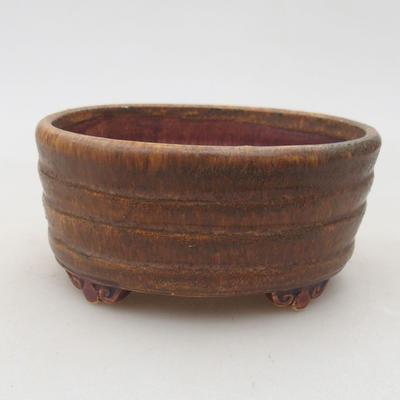 Keramische Bonsai-Schale 10,5 x 9 x 4,5 cm, braune Farbe - 1