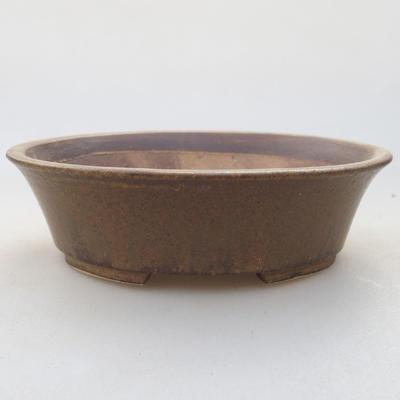 Keramische Bonsai-Schale 14 x 12 x 3,5 cm, braune Farbe - 1