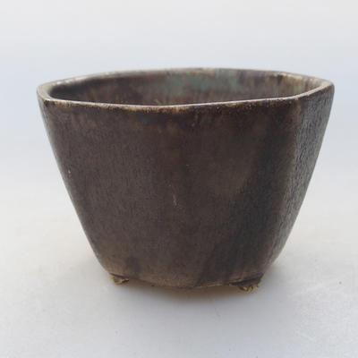 Keramische Bonsai-Schale 8,5 x 8,5 x 5,5 cm, braune Farbe - 1