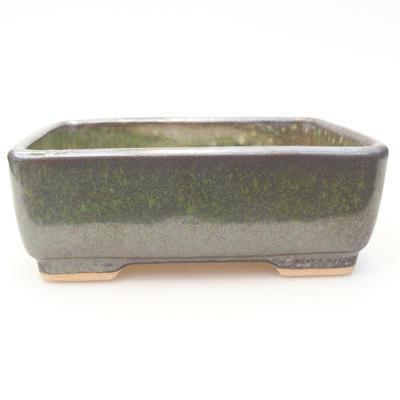 Keramische Bonsai-Schale 15 x 11,5 x 5,5 cm, Farbe grau-grün - 1