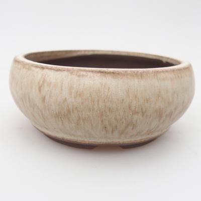 Bonsaischale aus Keramik 10,5 x 10,5 x 4,5 cm, Farbe beige - 1