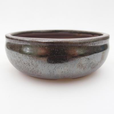 Keramik-Bonsaischale 10 x 10 x 3,5 cm, braun-grüne Farbe - 1