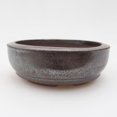 Keramik Bonsaischale 10 x 10 x 3 cm, braun-grüne Farbe - 1