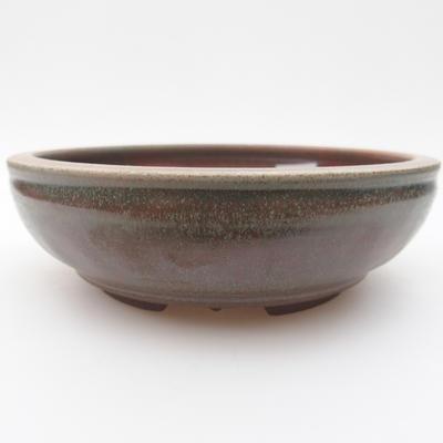 Keramik Bonsai Schüssel 15 x 15 x 4,5 cm, grün-rote Farbe - 1