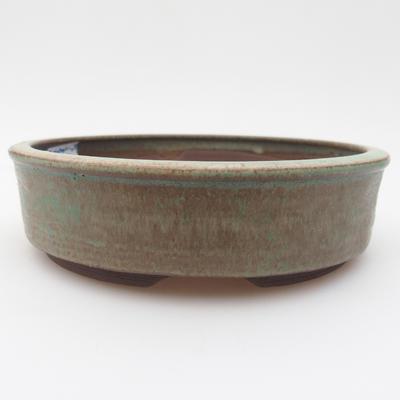Keramik Bonsaischale 15 x 15 x 4 cm, braun-grüne Farbe - 1