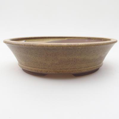 Keramik-Bonsaischale 17,5 x 17,5 x 4,5 cm, gelbbraune Farbe - 1