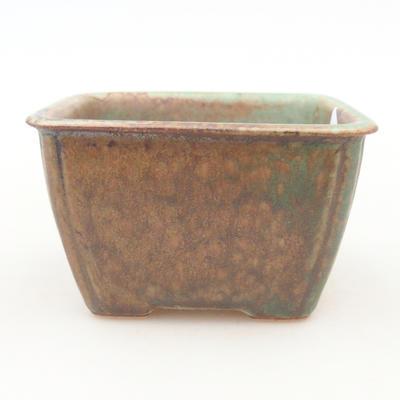 Keramische Bonsai-Schale 8,5 x 8,5 x 5 cm, Farbe braun-grün - 1