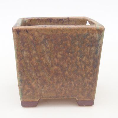 Keramische Bonsai-Schale 7,5 x 7,5 x 8,5 cm, Farbe braun-grün - 1