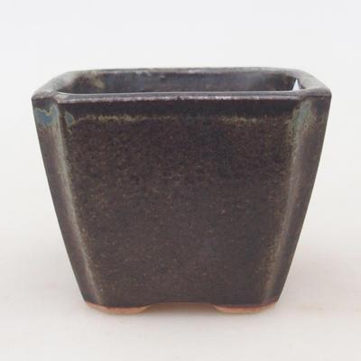 Keramische Bonsai-Schale 7 x 7 x 5,5 cm, braun-blaue Farbe - 1