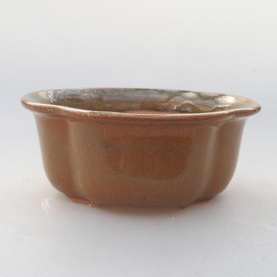 Keramik Bonsai Schüssel 13 x 11 x 5 cm, braune Farbe - 1