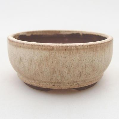 Bonsai-Keramikschale 8 x 8 x 3,5 cm, beige Farbe - 1