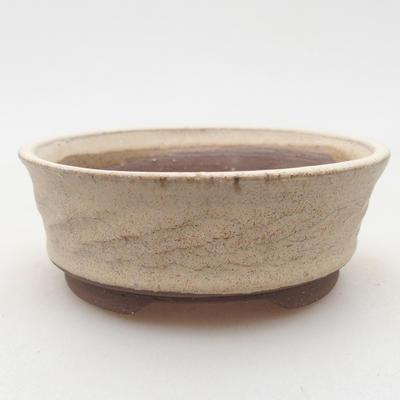 Keramische Bonsai-Schale 10 x 10 x 3,5 cm, beige Farbe - 1