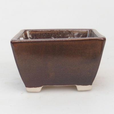 Keramik Bonsai Schüssel 9,5 x 9,5 x 5,5 cm, braune Farbe - 1