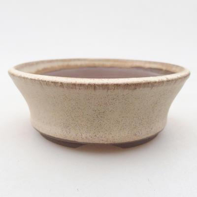 Keramik Bonsai Schüssel 10 x 10 x 3,5 cm, beige Farbe - 1