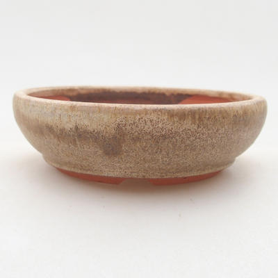 Keramik Bonsai Schüssel 10 x 10 x 3 cm, beige Farbe - 1