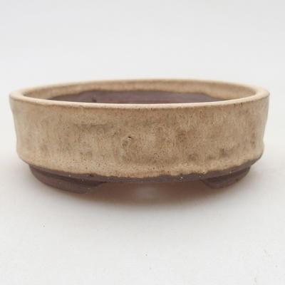 Keramik Bonsai Schüssel 9 x 9 x 3 cm, beige Farbe - 1