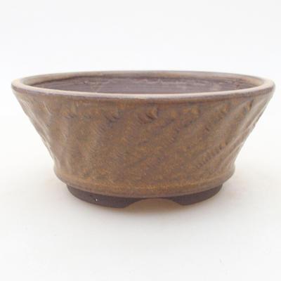 Keramische Bonsai-Schale 11 x 11 x 4,5 cm, braune Farbe - 1