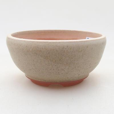 Keramik Bonsai Schüssel 10 x 10 x 5 cm, beige Farbe - 1