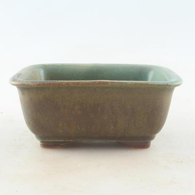 Keramische Bonsai-Schale 13,5 x 10 x 6 cm, Farbe braun-grün - 1
