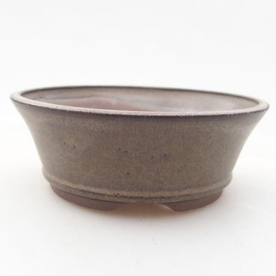 Keramische Bonsai-Schale 9,5 x 9,5 x 3,5 cm, braune Farbe - 1