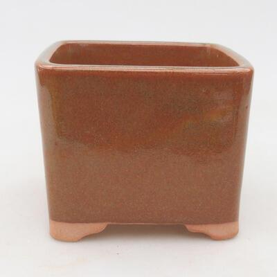 Keramische Bonsai-Schale 10 x 10 x 8,5 cm, Farbe grau-rostig - 1