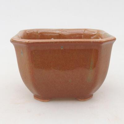 Keramische Bonsai-Schale 10 x 10 x 6,5 cm, Farbe grau-rostig - 1