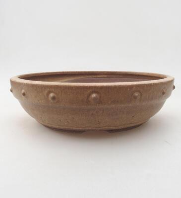 Keramische Bonsai-Schale 20 x 20 x 5,5 cm, braune Farbe - 1