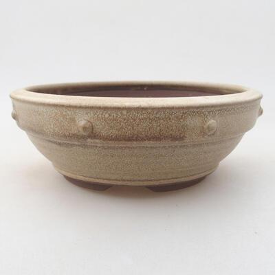 Keramik Bonsai Schüssel 15 x 15 x 5,5 cm, beige Farbe - 1