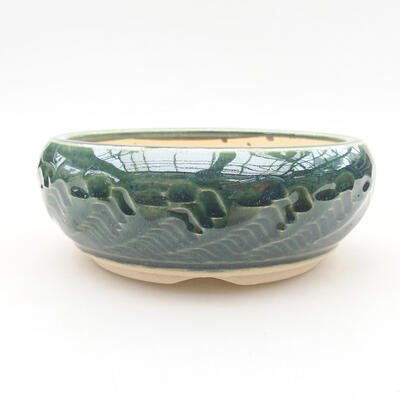 Keramische Bonsai-Schale 12,5 x 12,5 x 5 cm, Farbe grün - 1